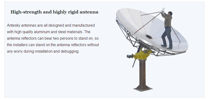 High-strength and highly rigid antenna of 3.7m Receive Only Antenna
