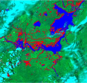 Flood monitoring map of Dongting Lake area